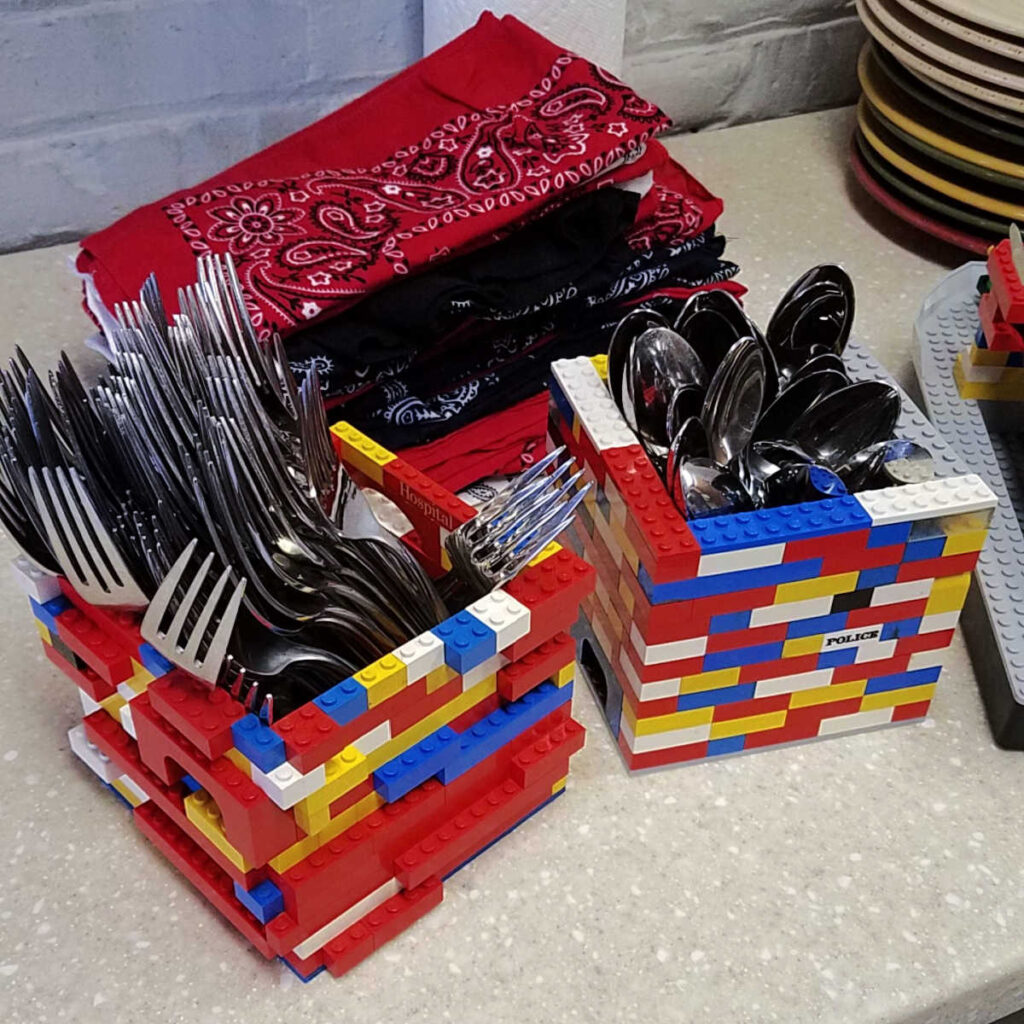 silverware containers made out of legos.
