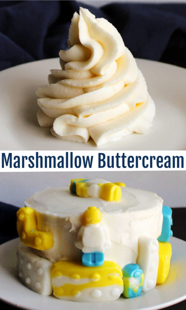This fluffy buttercream has real marshmallows mixed right into the frosting. It is relatively stable, super delicious and lots of fun.