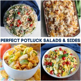 collage of images of potato salad, pasta salad, corn salad and frito salad.