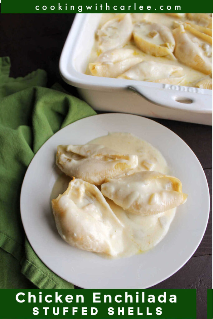 Cheesy chicken enchilada stuffed shells bathed in a white sour cream and cheese sauce are such a delicious and hearty meal. They are part Tex-Mex, part pasta and all amazing!
