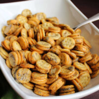 Close serving bowl of ranch seasoned ritz bits crackers ready to eat.