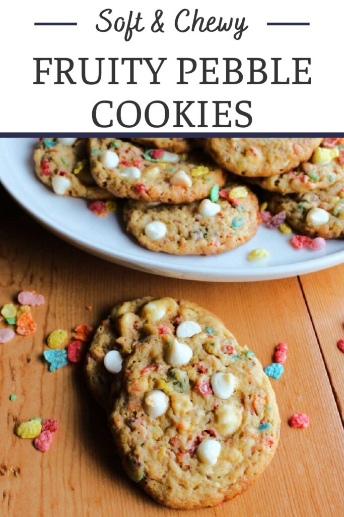 Fruity Pebble cookies are all of the tastiest parts of childhood rolled up into one delicious dessert. They are chewy, crunchy, creamy and fabulous.