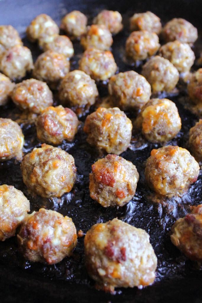 Freshly cooked breakfast meatballs.