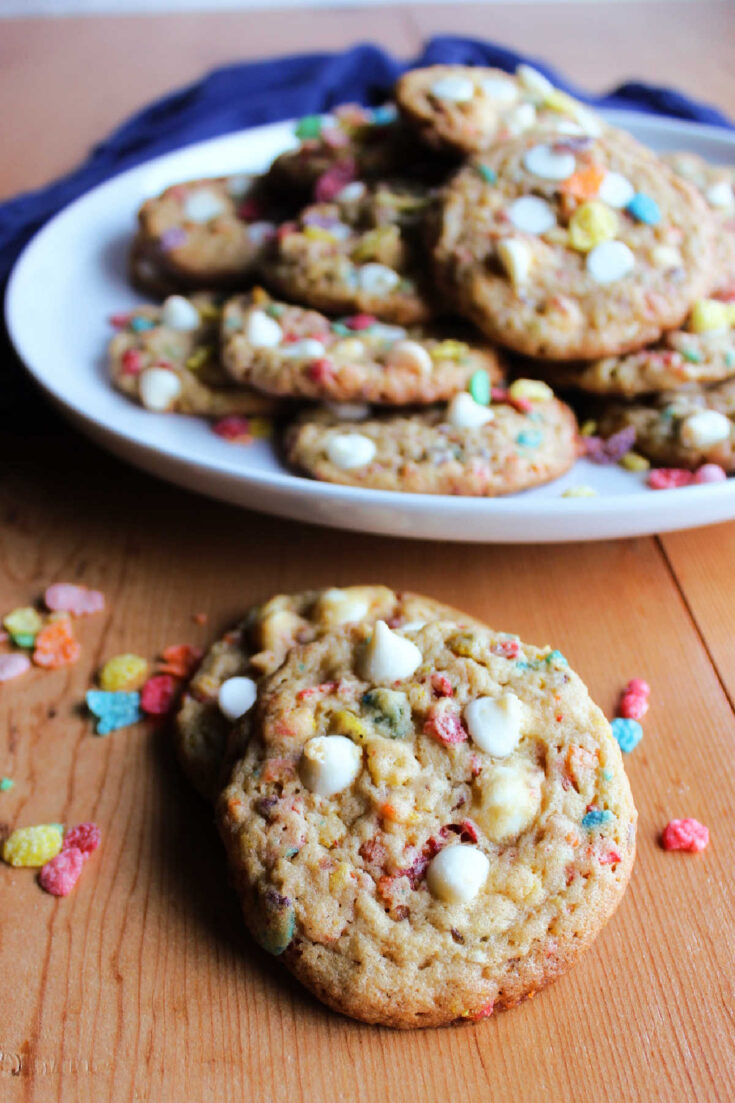 Chewy cookies with fruity pebbles and white chocolate chips in them.