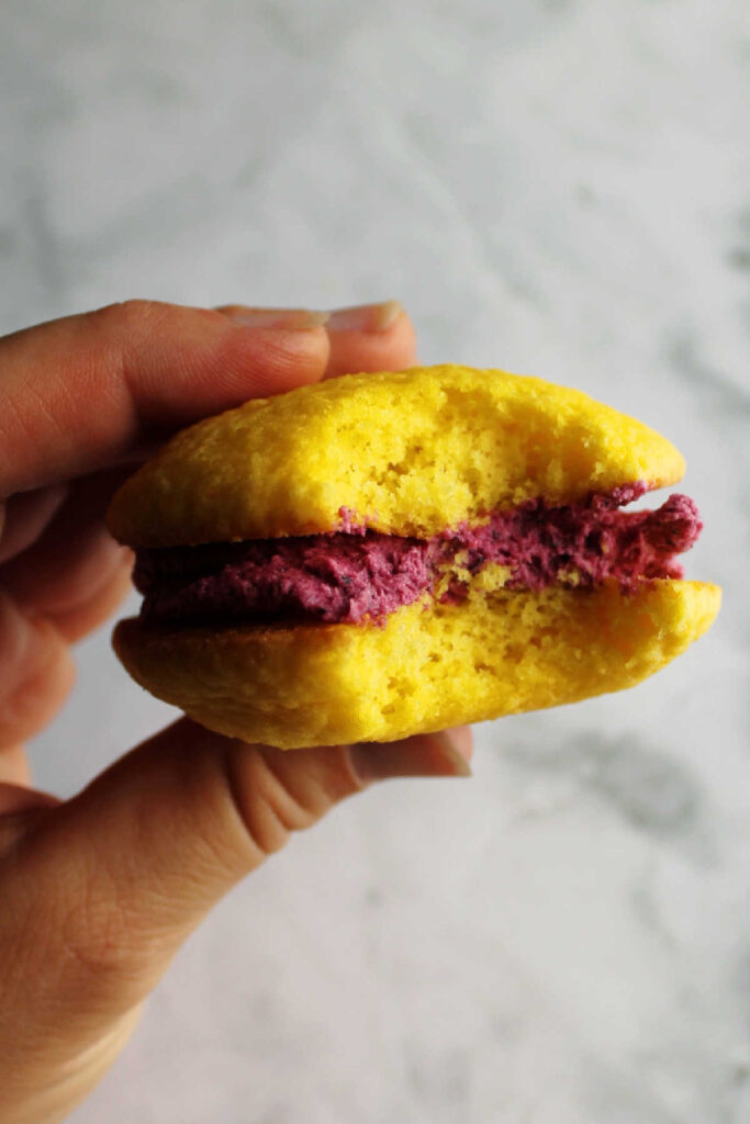 hand holding lemon whoopie pie with blueberry buttercream filling with a bite missing.