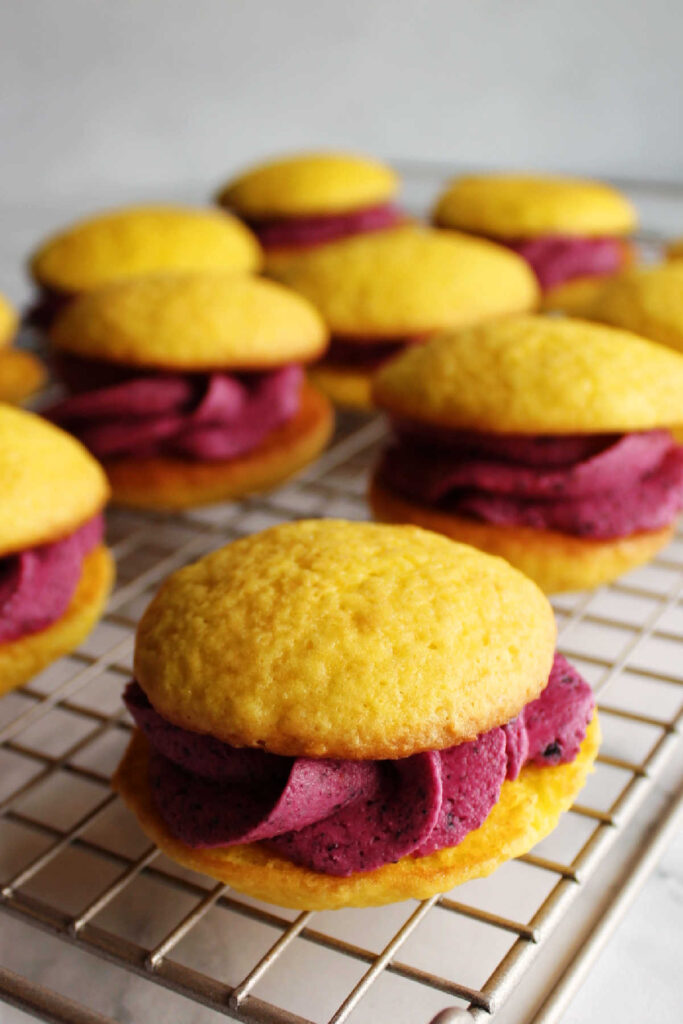 Yellow lemon whoopie pies with deep purple blueberry frosting piped between the layers.