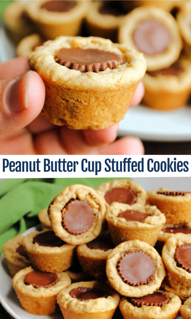 Chewy peanut butter cookies baked in a mini muffin tin and stuffed with a mini peanut butter cup are a perfect treat. They are right at home for any occasion from an after school snack to a Christmas cookie tray.