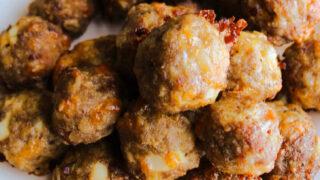 pile of breakfast meatballs on plate.