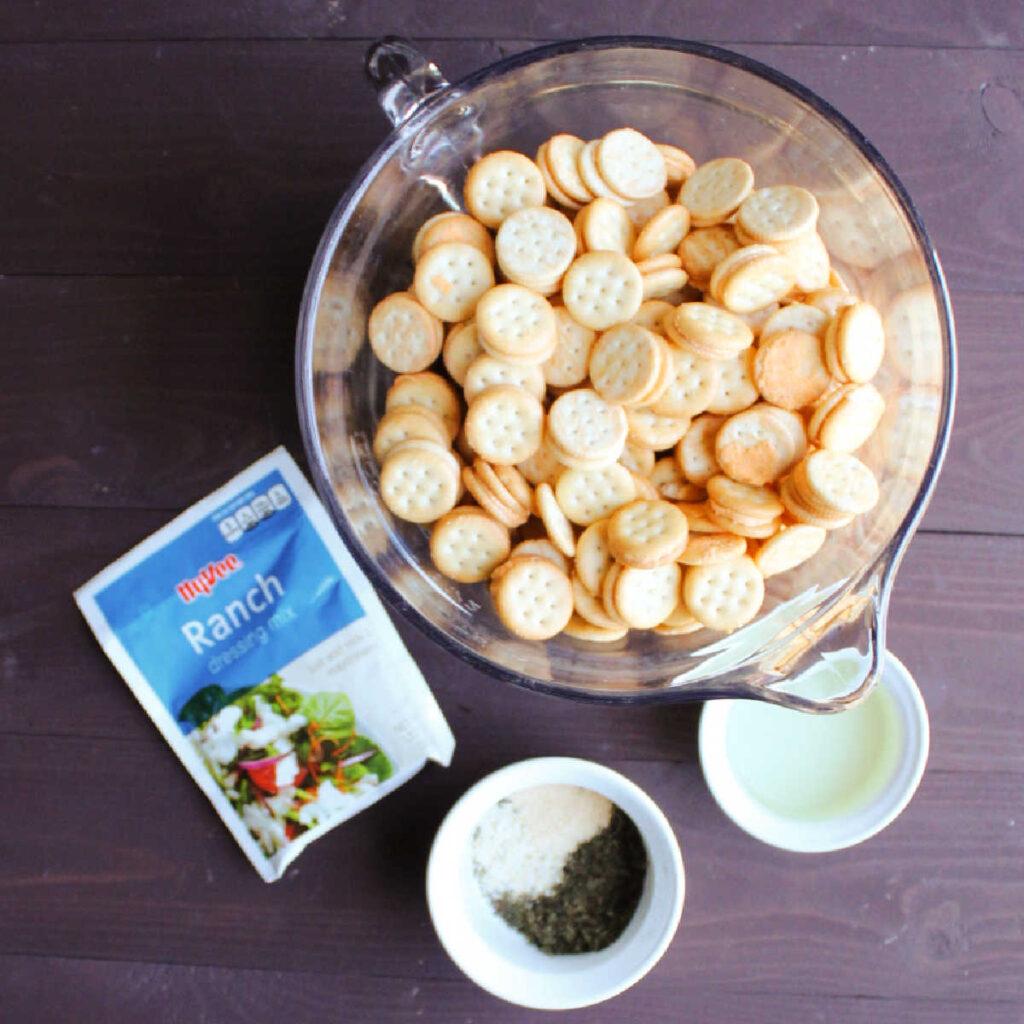 Ingredients for ranch seasoned ritz bits crackers.