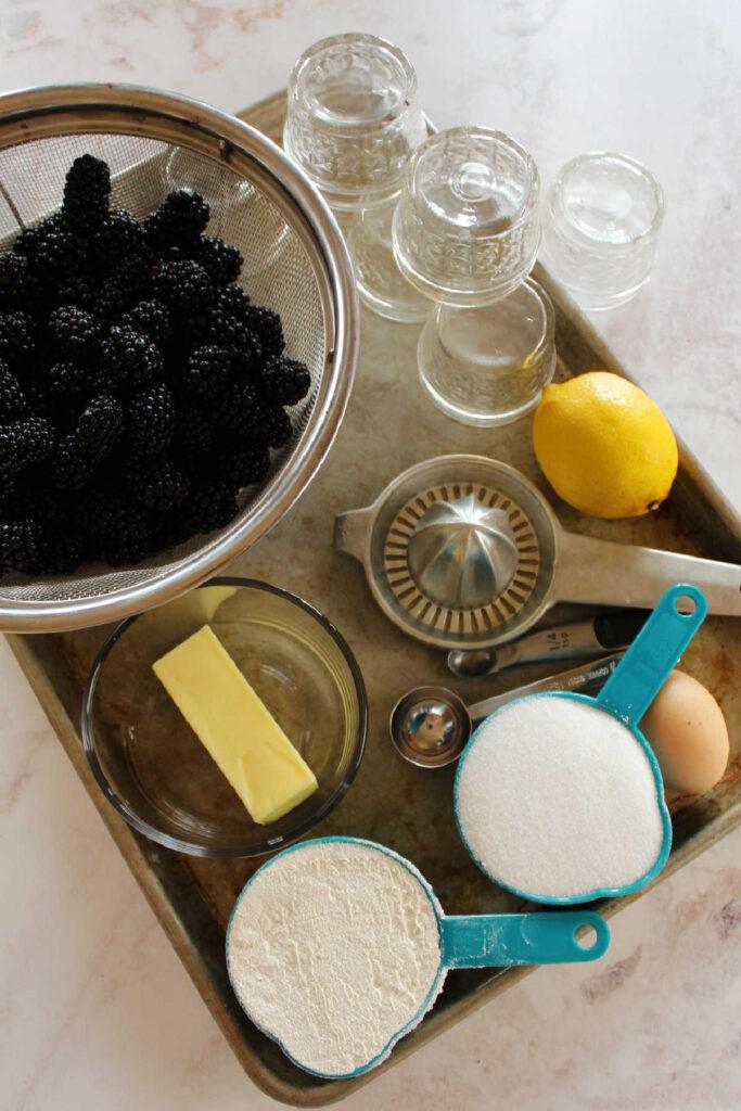 Tray of blackberry cobbler ingredients.