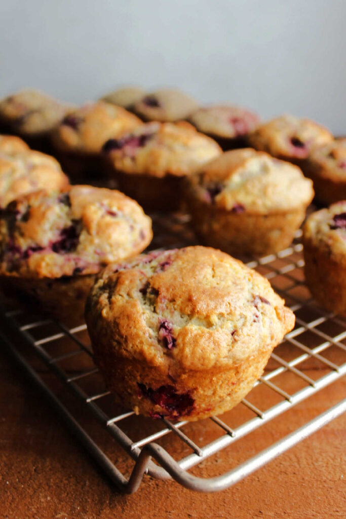 Blackberry muffins cooling on wire rack.
