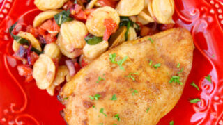 Dinner plate with marinated chicken and pasta salad.
