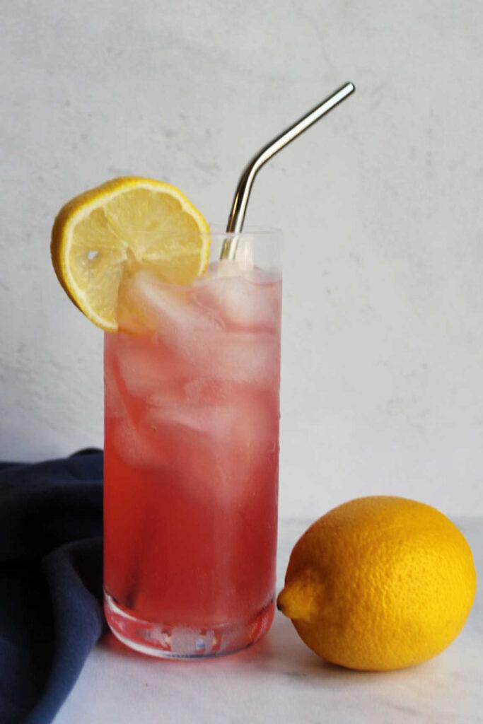 pink lemonade in glass
