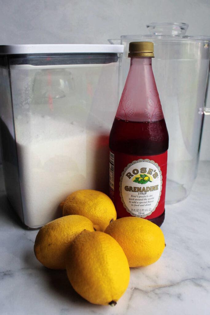 Ingredients for making homemade pink lemonade.