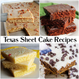 Collage of images with different kinds of Texas sheet cake.