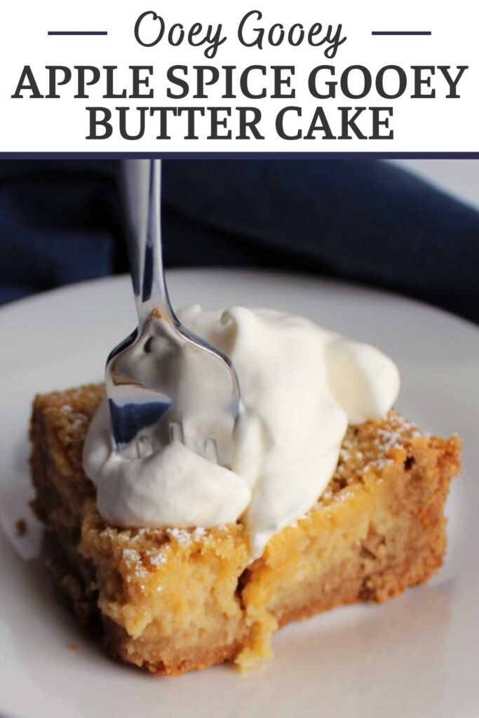 Apple spice gooey butter cake has all of the ooey gooey butter cake texture with spice cake and apple butter mixed in. It is a perfect fall treat that is easy to make and tastes unbelievable.