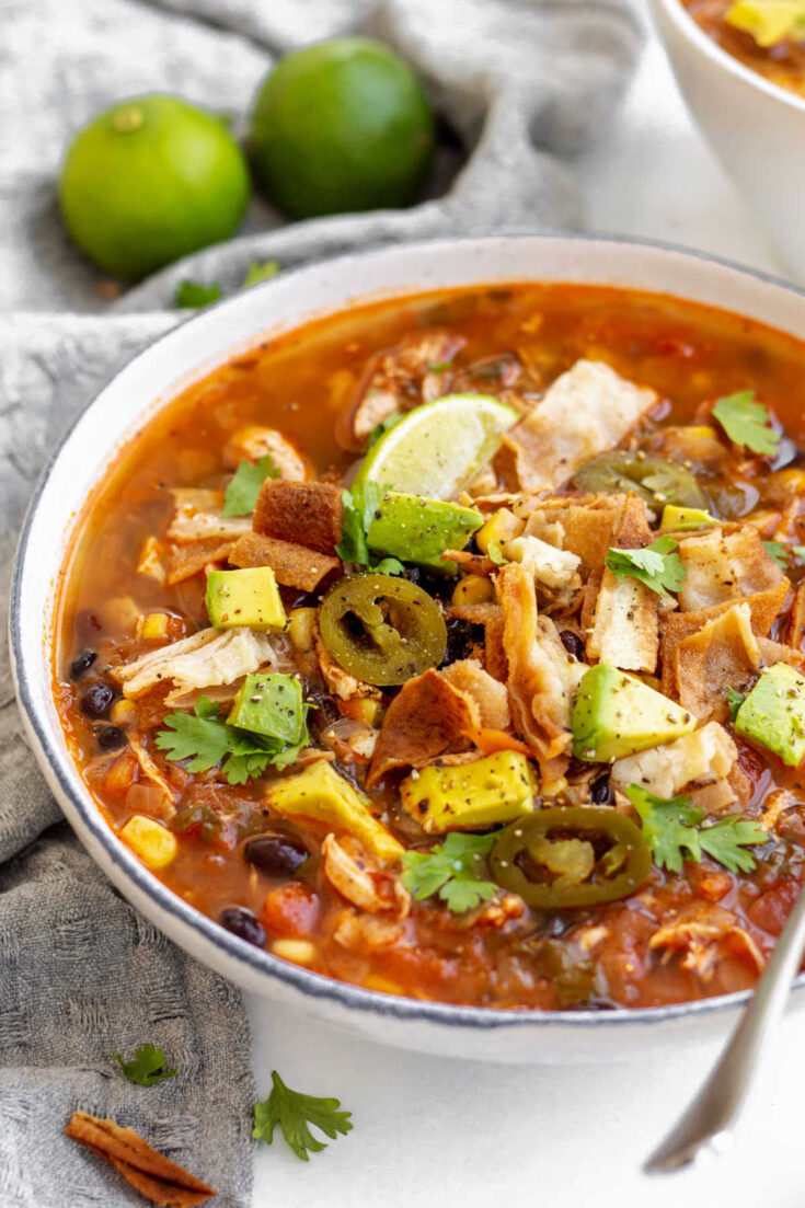 Bowl of chicken tortilla soup ready to eat.