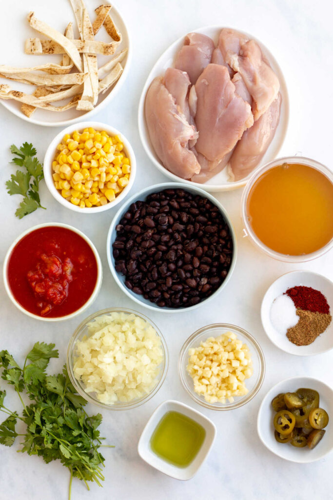 Bowls of ingredients to be made into chicken tortilla soup.