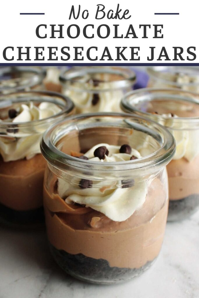 Smooth creamy no bake chocolate cheesecake jars are perfect single serve desserts for parties and picnics. They are easy to make and don't heat up the kitchen.