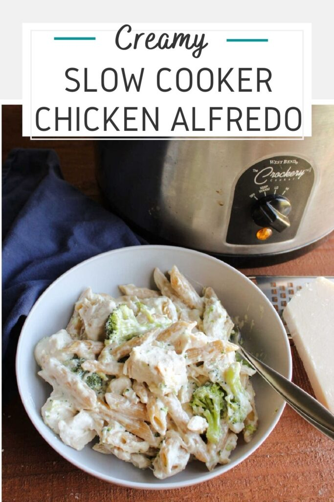 If rich creamy alfredo is a favorite at your house, you are going to love this slow cooker chicken alfredo with pasta and broccoli. The prep work is almost non-existent and dinner cooks while you go about your life.