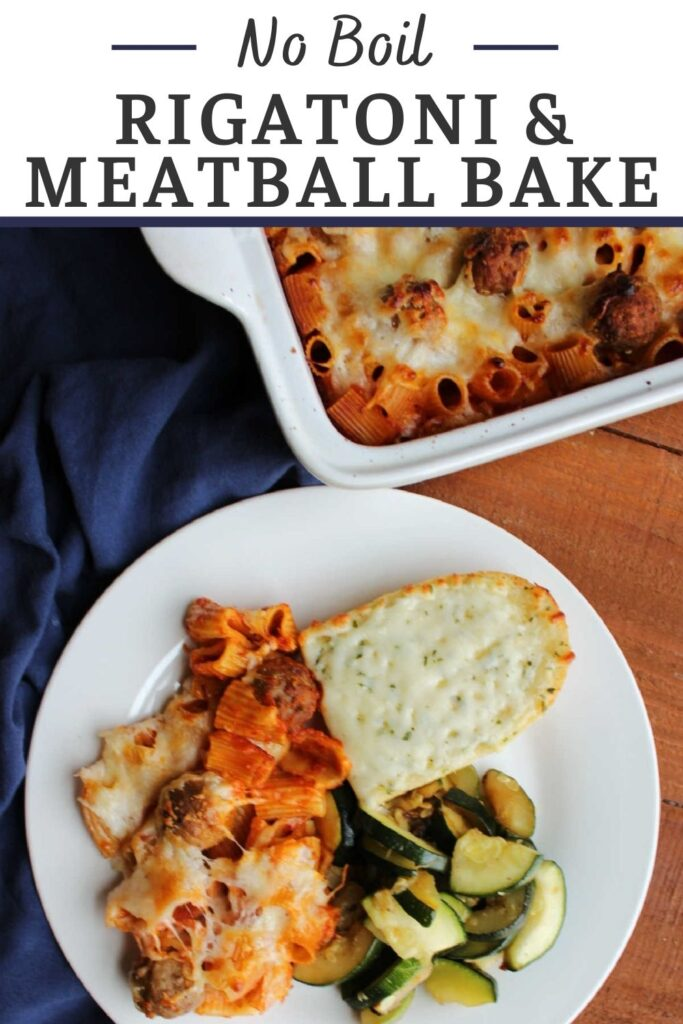 Make getting dinner on the table super easy with this no boil rigatoni and meatball bake. It takes almost no prep work and results in a tasty and filling meal.