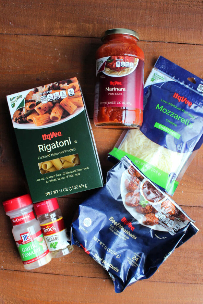 Ingredients for no boil baked pasta with meatballs.