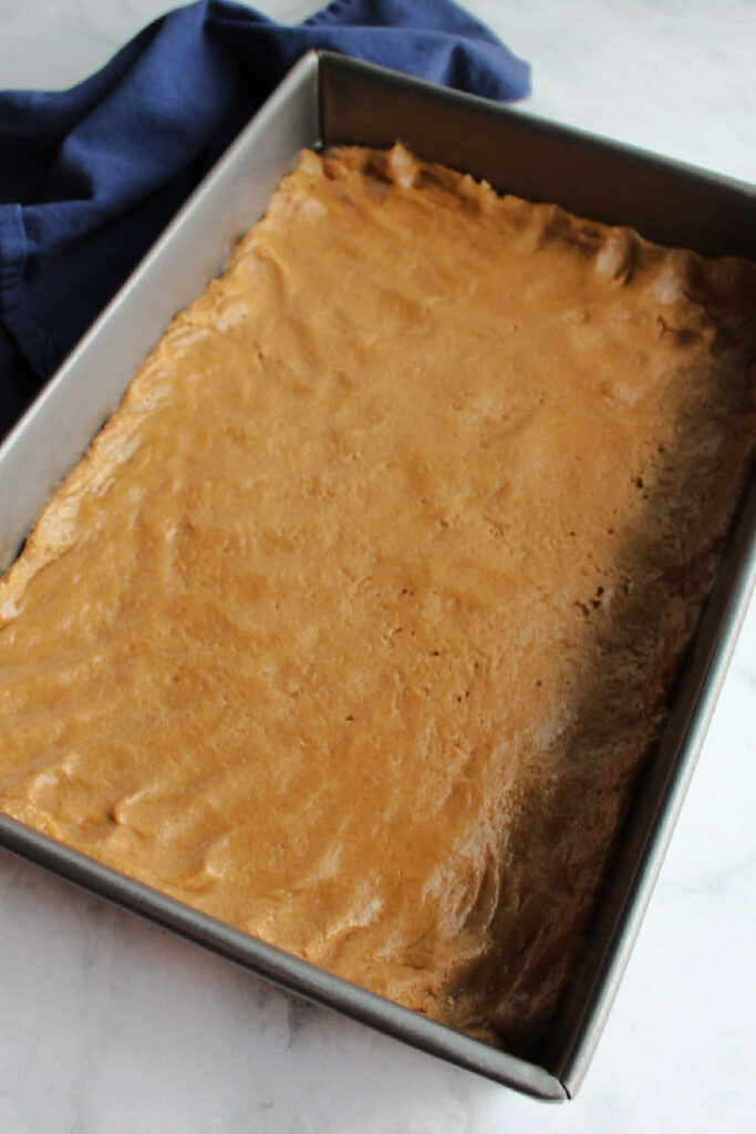 Spice cake crust mixture patted into bottom of pan.
