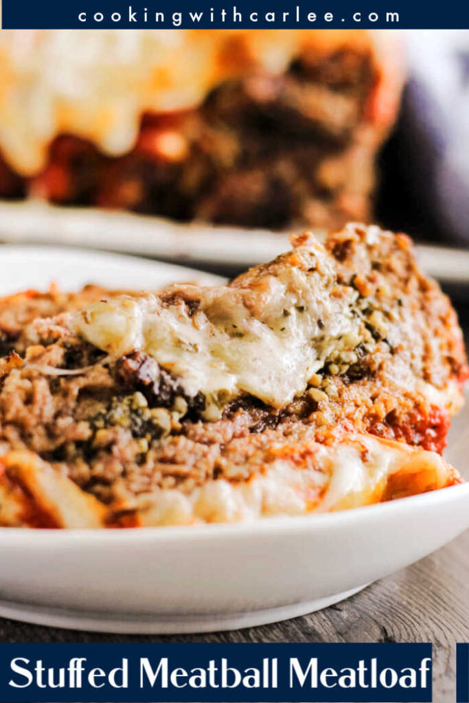 Make the dinner table more inviting with a stuffed meatball meatloaf. It is loaded with pesto and cheese and topped with marinara for a fabulous entrée.