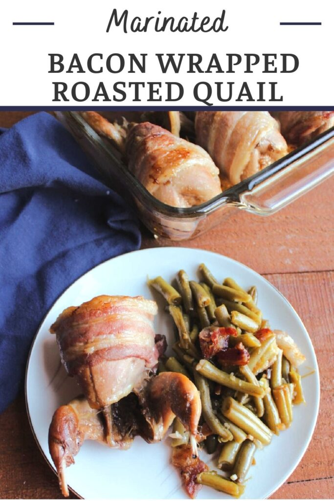 Roasted bacon wrapped quail are first marinated in a flavorful liquid and then wrapped in bacon and baked to perfection. They are sure to be the star of your dinner table.