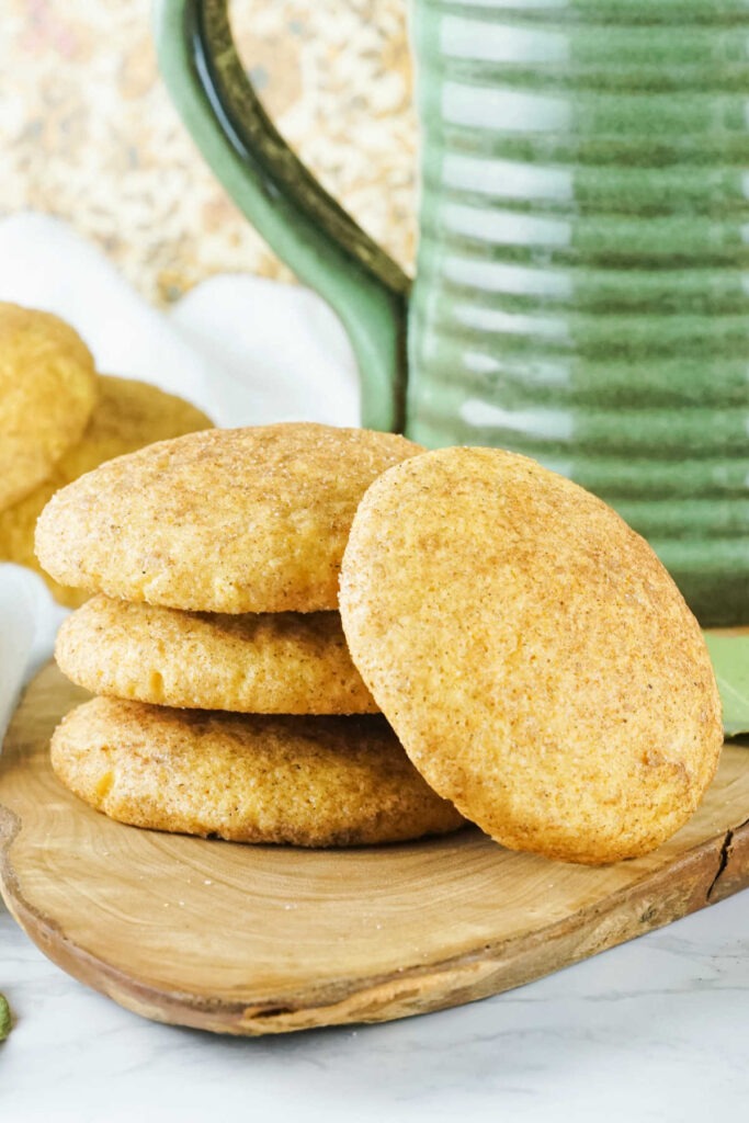 Stack of pumpkin snickerdoodle cookies, ready to eat.