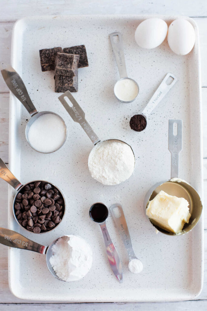 Brownie ingredients measured and ready to go.