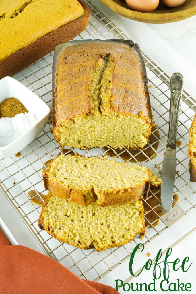 Imagine a traditional vanilla pound cake, but every bite is bursting with the perfect amount of coffee flavor. Then, top that cake with a classic icing also bursting with coffee goodness. That's this cake.