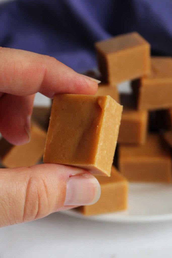 Fingers holding piece of peanut butter fudge.
