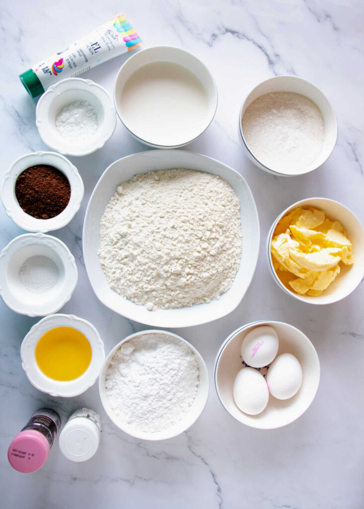 Ingredients for making chocolate cupcakes and buttercream frosting.