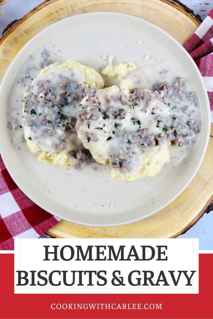 Homemade biscuits and sausage gravy is the ultimate in hearty comfort food breakfasts. Making fluffy biscuits and an easy creamy sawmill gravy with bits of breakfast sausage is easy and the results are delicious and filling.