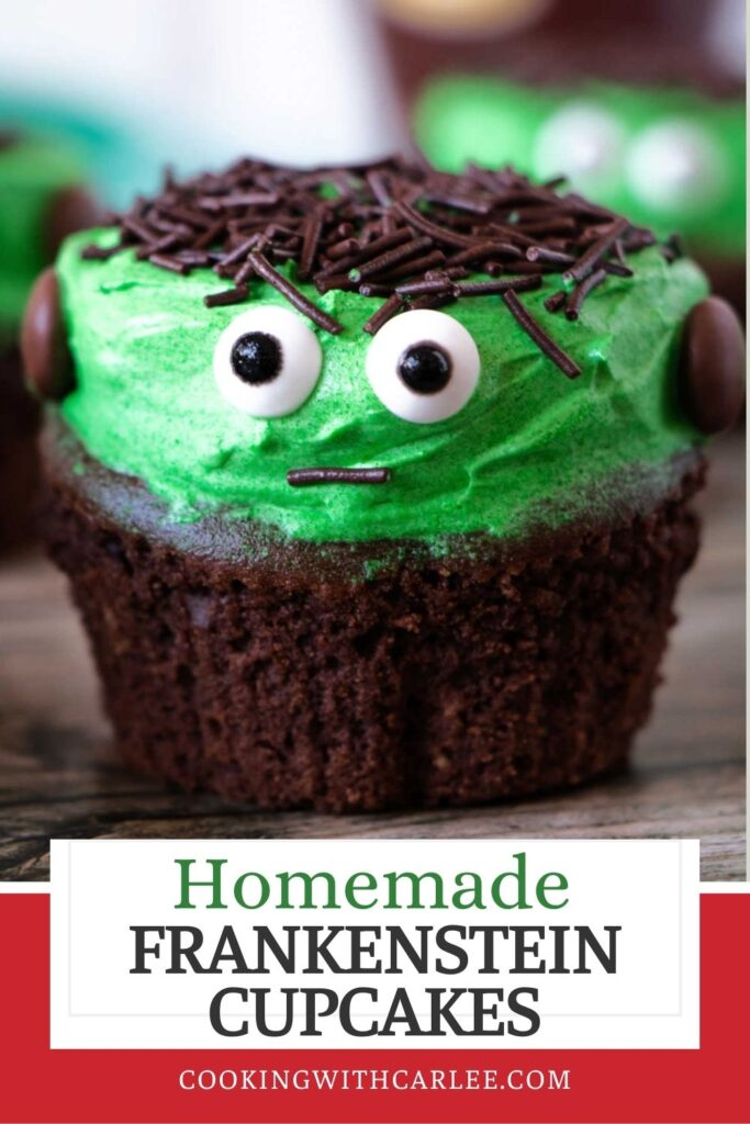 Frankenstein cupcakes are such a cute Halloween treat. Whip up a super easy batch of homemade chocolate cupcakes and green buttercream. Then with just a couple of minutes of no skill required decorating, you can have a fun dessert.