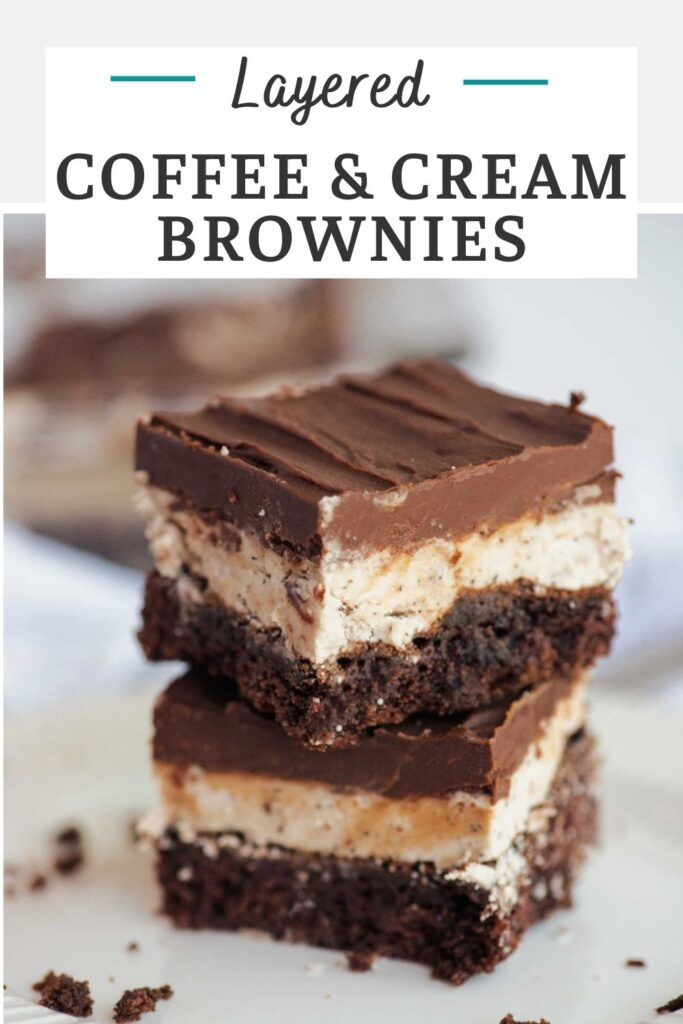 Coffee and cream brownies are the perfect combination of rich gooey chocolate brownies and creamy coffee buttercream. They are topped with a fudgy glaze to really make them over the top good.