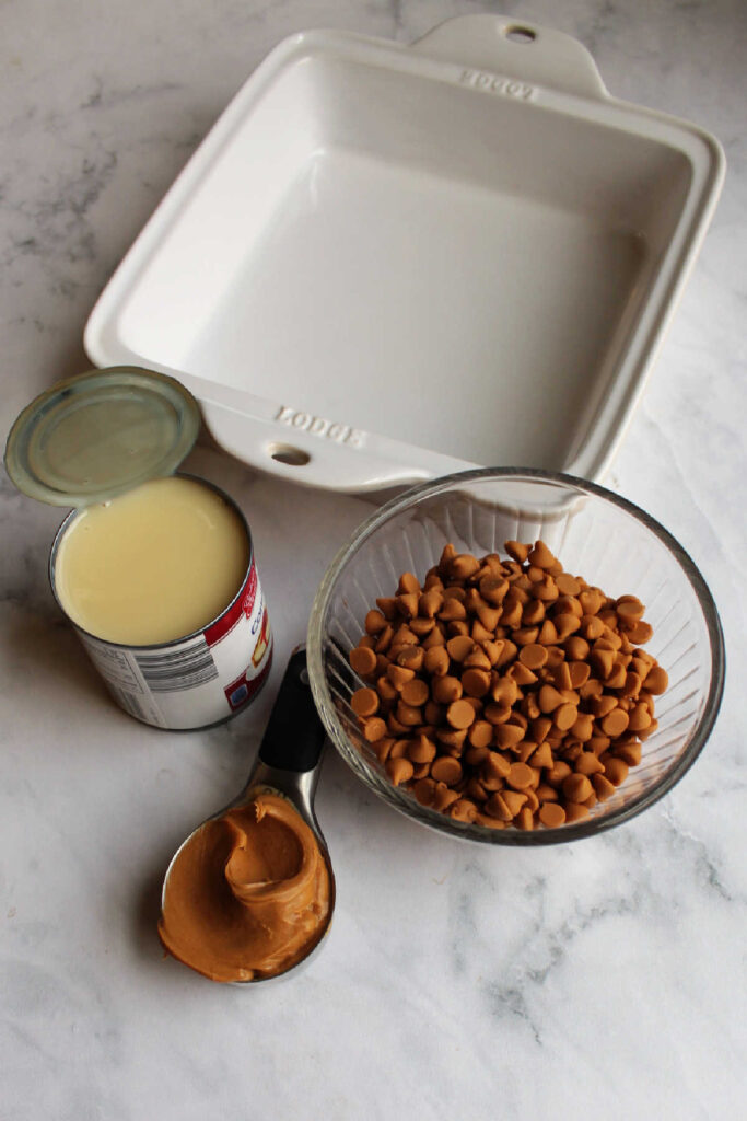 Peanut butter chips, peanut butter and sweetened condensed milk ready to be made into fudge.