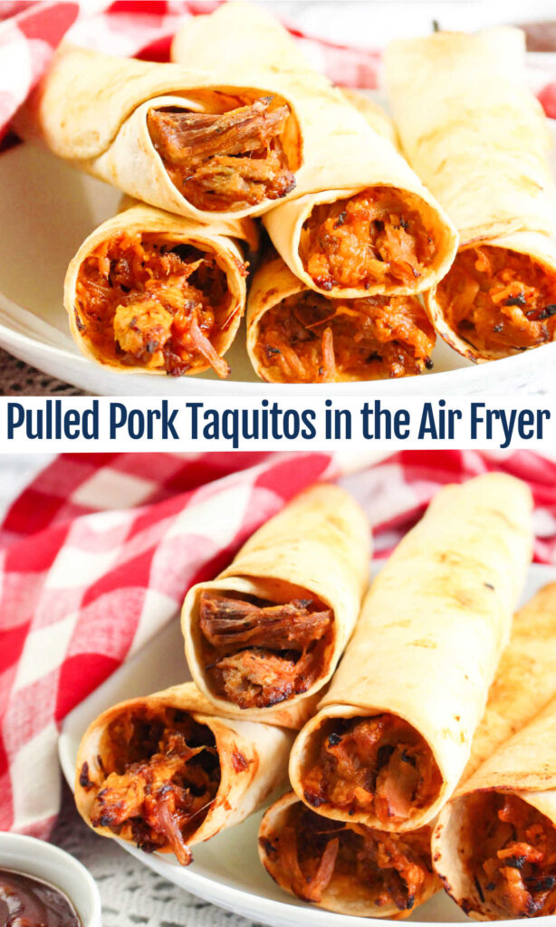 Turn leftovers into fun cheesy pulled pork taquitos with the help of your air fryer. They are easy to make, crispy and delicious!