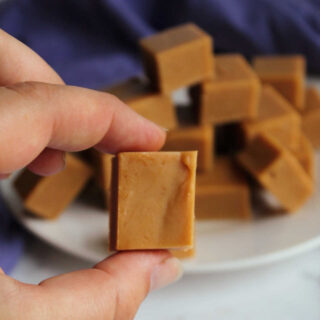 Hand holding square of peanut butter fudge.
