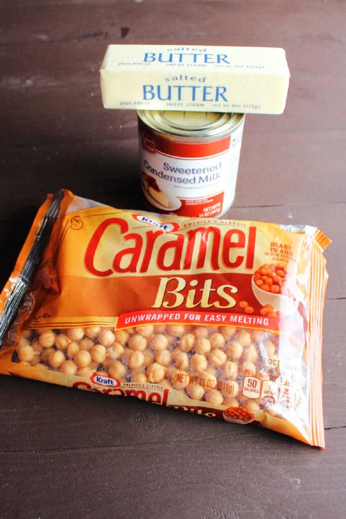 Ingredients for homemade caramel dip for apples.