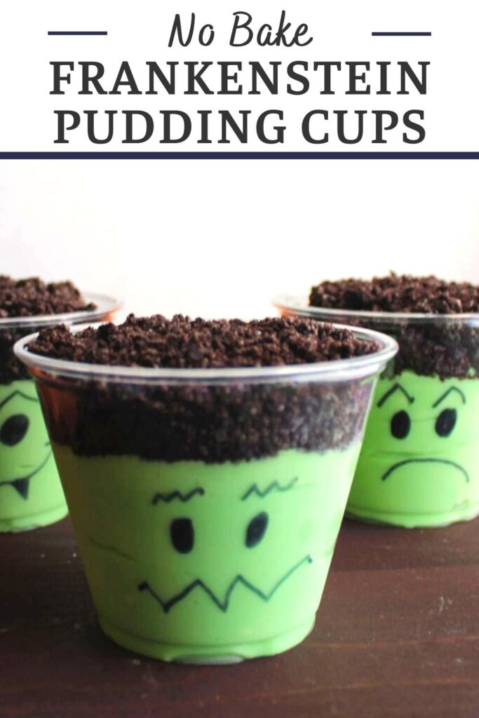 Make your Halloween festivities even sweeter and cuter with Frankenstein pudding cups. They are super simple to make and are perfect for classroom parties and more!