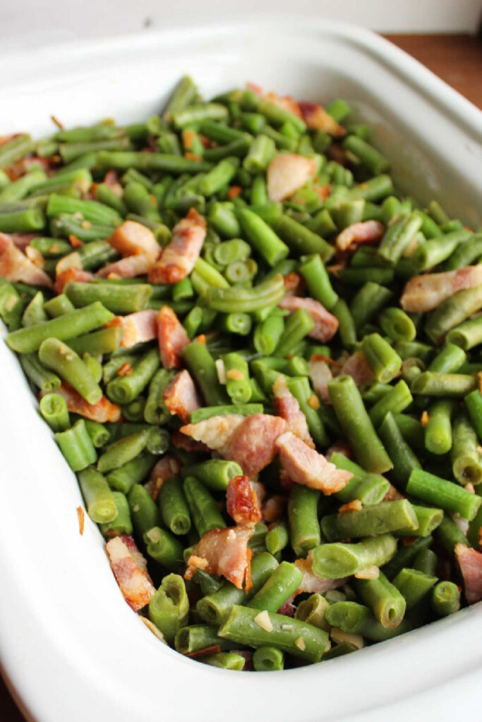 green beans and bacon in slow cooker.