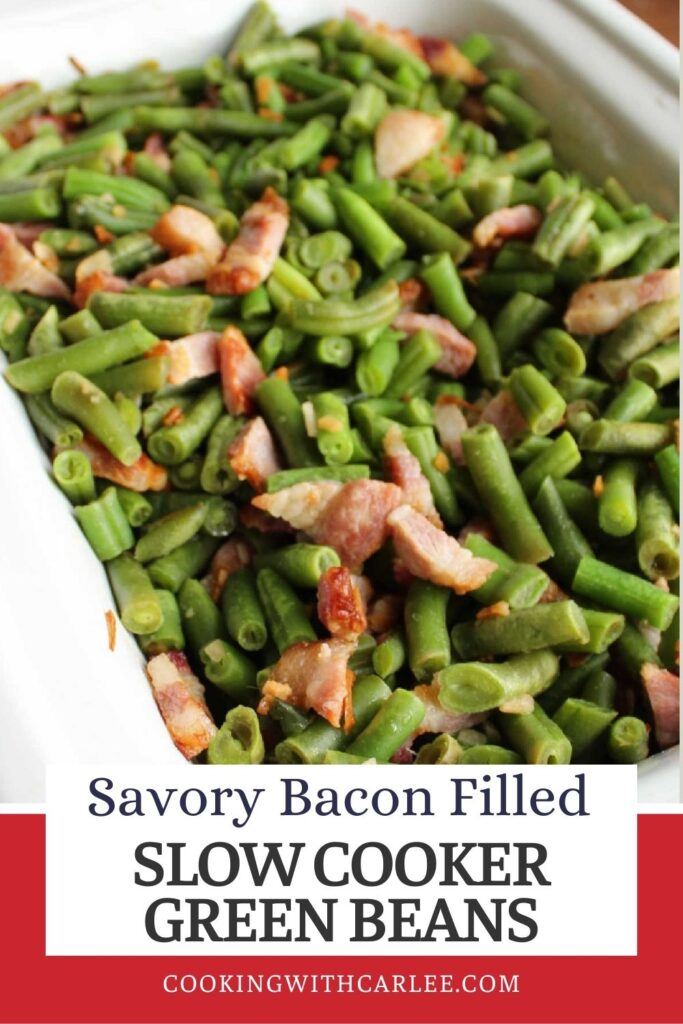Savory slow cooker green beans are a flavorful side dish for any meal. Just toss the ingredients in a slow cooker several hours before the meal and they'll be ready when you are.