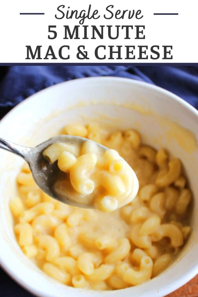 5 minute mac and cheese allows you to have a single serving of creamy cheesy pasta in a jiffy. This easy recipe basically makes instant macaroni and cheese and it's so simple a kid can do it without help. It is perfect for lunch or a quick and filling snack.