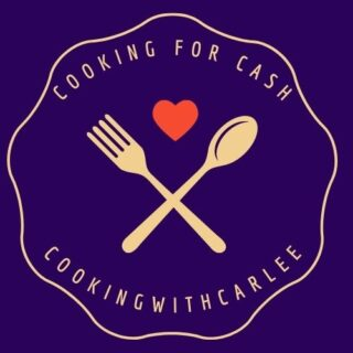 Cooking for cash logo with fork, spoon and heart.